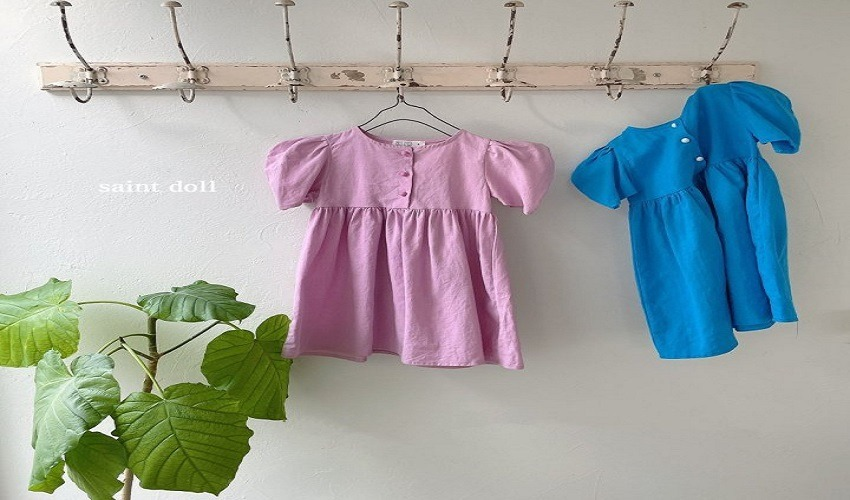 lovely2min-세인트돌 단추린넨원피스(S~JL) - lovely2min♡韓國童裝連身裙