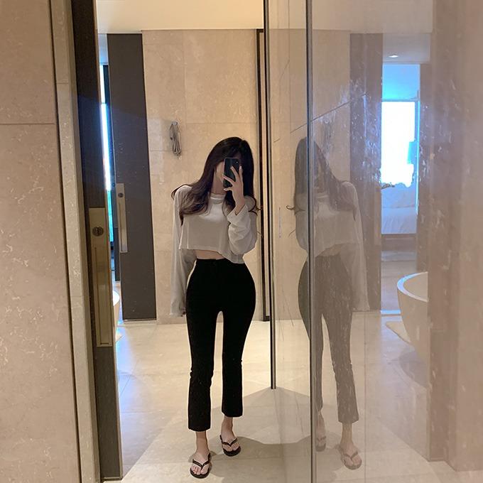 henique-뚜뚜 라운드넥 크롭 티셔츠 (화이트/퍼플/핑크/연두/소라/카키/브라운/블랙)♡韓國女裝上衣