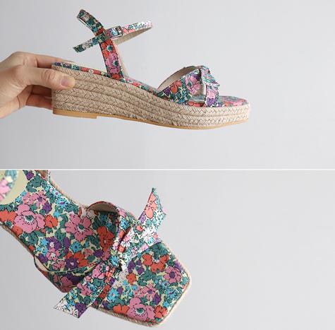leelin-[레트로 플라워 스트랩 슈즈]♡韓國女裝鞋