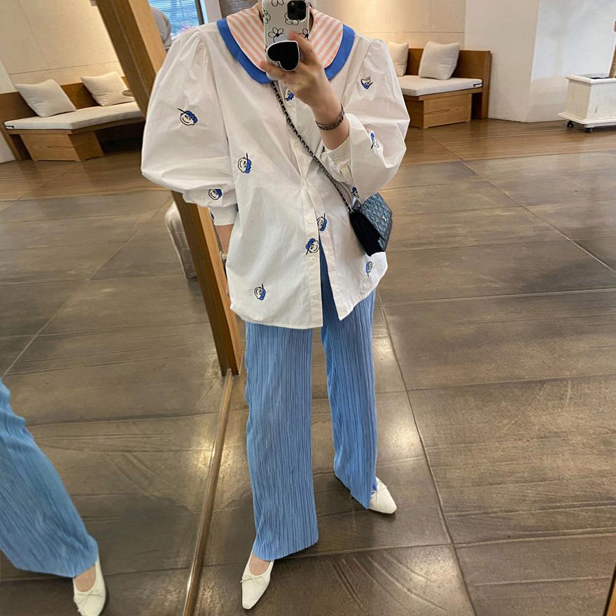 miamasvin-보이캡 자수 블라우스♡韓國女裝上衣