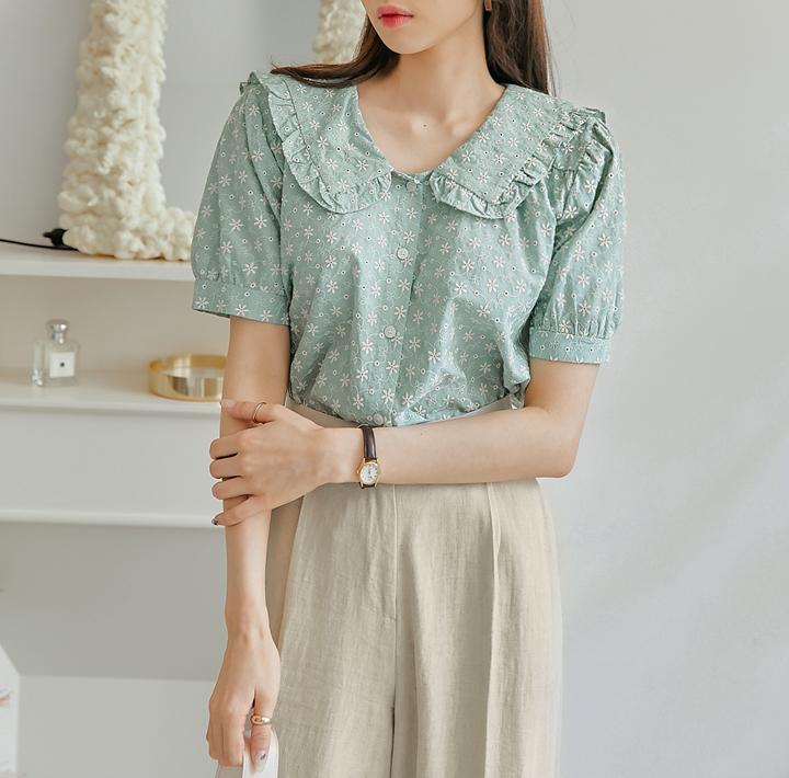 common-unique--도엘라 플라워 니들 프릴 블라우스♡韓國女裝上衣
