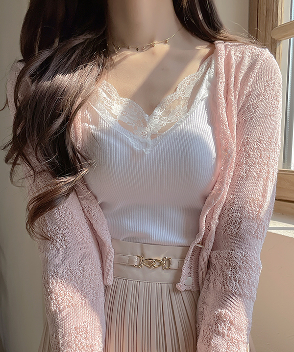 ssomedays-글램 레이스 나시t 3color - 썸데이즈♡韓國女裝飾品