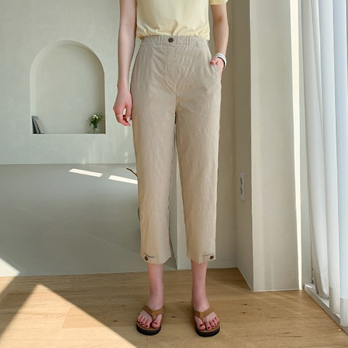 dodry-P17575 8부 밑단 버튼 배기 팬츠♡韓國女裝褲