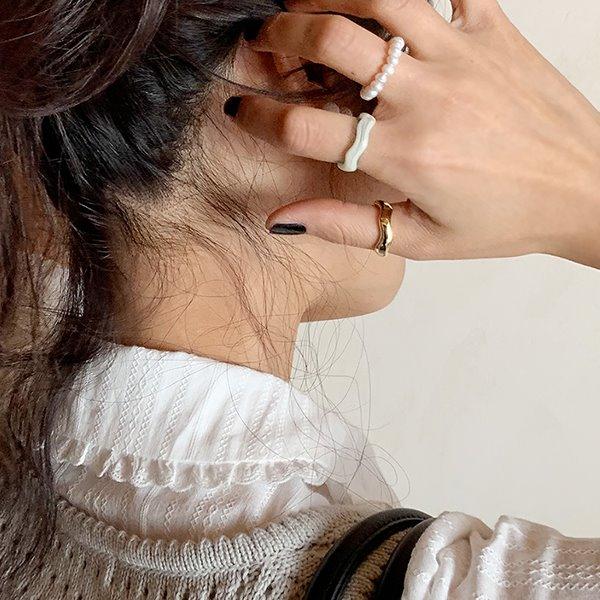browncode-pearl ring set♡韓國女裝飾品