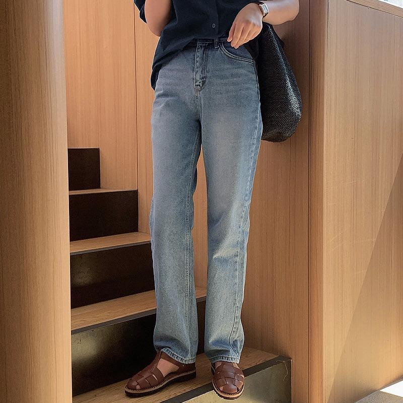 laurenhi-크롤 일자 와이드 롱 데님팬츠 - 1 color♡韓國女裝褲