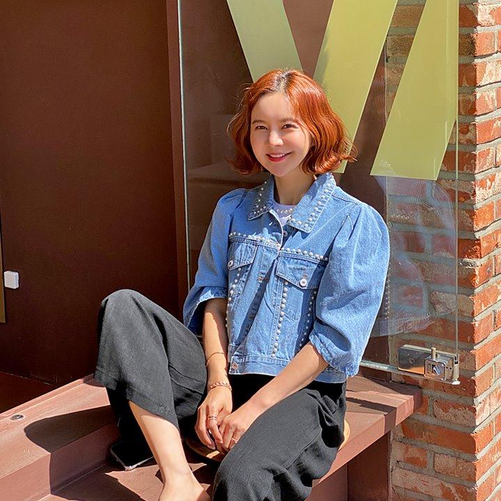 lemite-진주라인 데님자켓♡韓國女裝外套