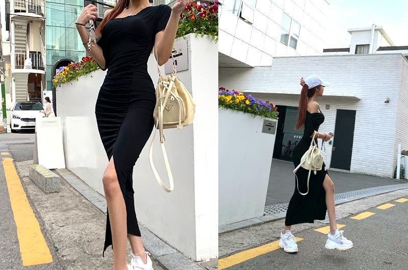 torishop-베네핏 슬릿셔링롱OPS (2color)♡韓國女裝連身裙