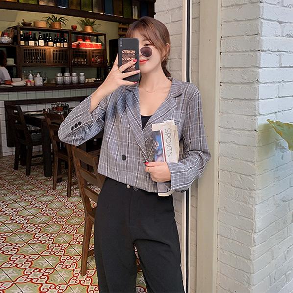 fashion-full-깐느 더블 버튼 크롭 자켓♡韓國女裝外套