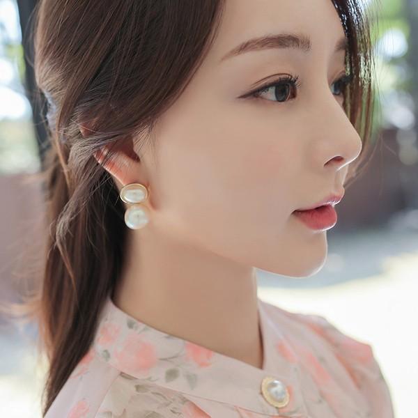 ode-[트윈 진주볼 귀걸이]♡韓國女裝飾品