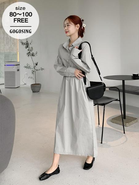 ggsing-[15일9시까지9%할인]스트링 셔츠원피스 (롱,허리조절,무료배송)♡韓國女裝連身裙