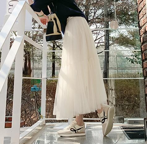 leelin-[네이첼 하늘하늘 샤 스커트 [size:F(55~66)]]♡韓國女裝裙