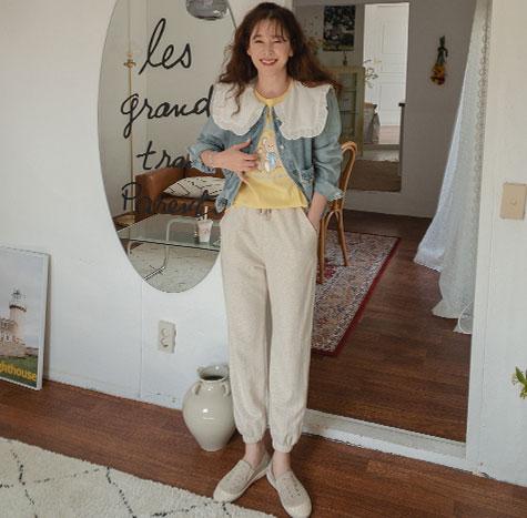 leelin-[베이글 워싱 썸머 조거 팬츠[size:F,M]]♡韓國女裝褲