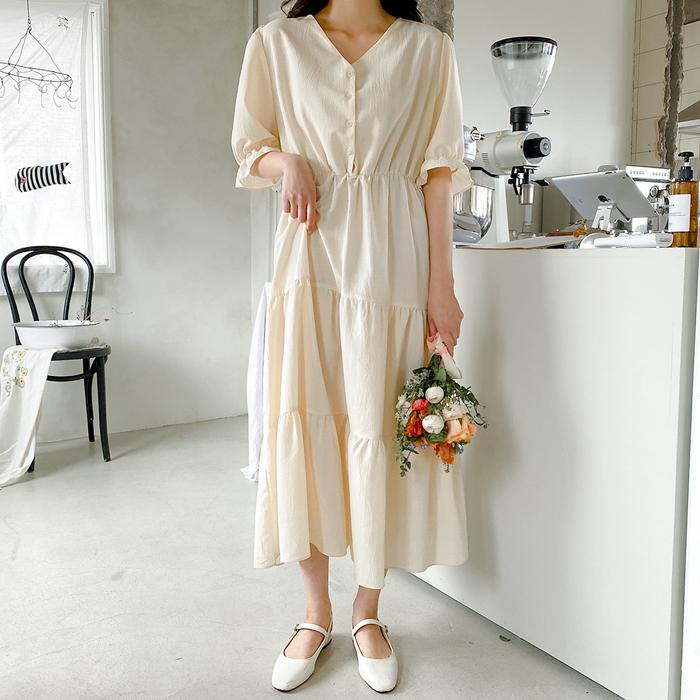 09women-[엘리센 단추 캉캉 롱 원피스 58853]♡韓國女裝連身裙