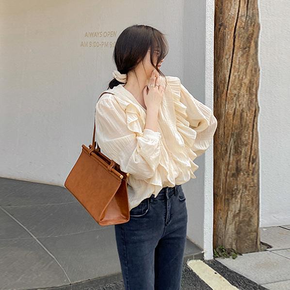 fashion-full-샤베트 프릴 브이넥 블라우스♡韓國女裝上衣