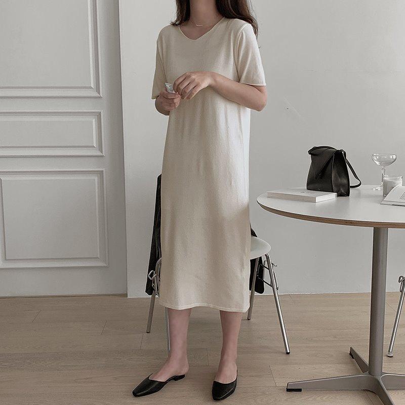 laurenhi-[Made Lauren]비긴 반팔 브이넥 니트 롱 원피스- 3 color♡韓國女裝連身裙