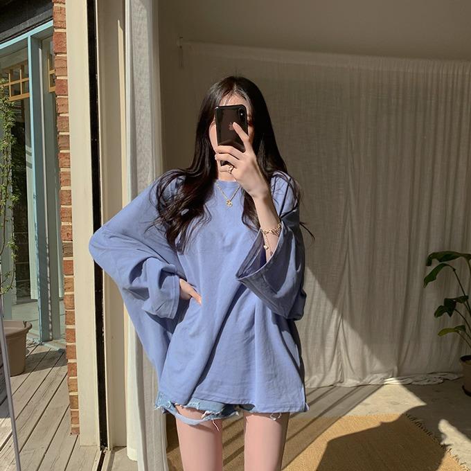 henique-오예스 박시 긴팔 라운드 티셔츠 (아이보리/블루/핑크/베이지/그린/연주황/진주황/블랙)♡韓國女裝上衣