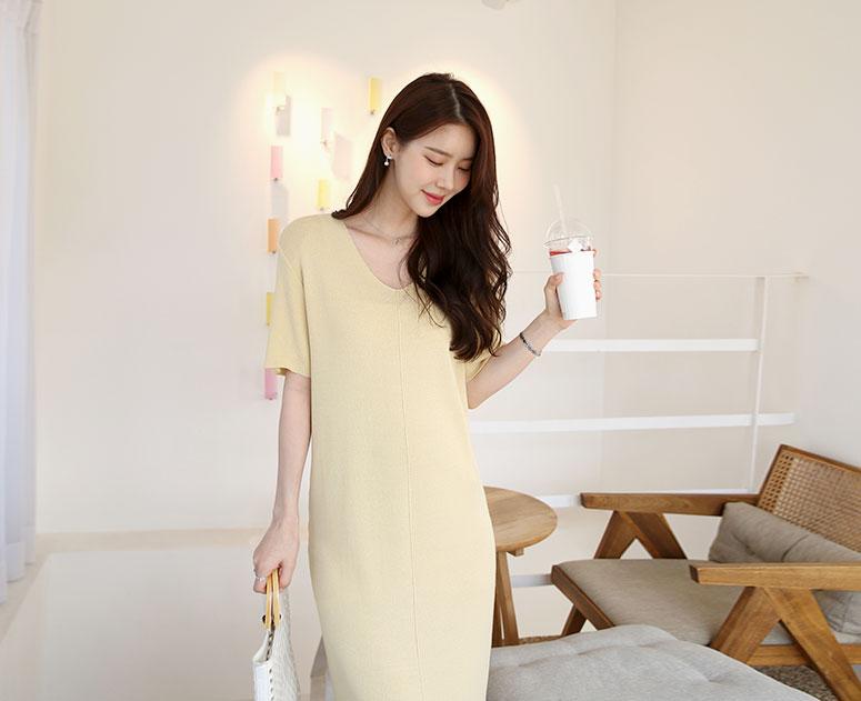 happy10-[*신상10% 기간한정할인*임부복*브이루즈 니트 원피스]♡韓國孕婦裝連身裙