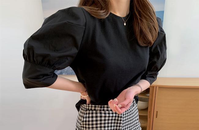 minsshop-(면100%)웨더 퍼프 티셔츠(주문폭주!)♡韓國女裝上衣