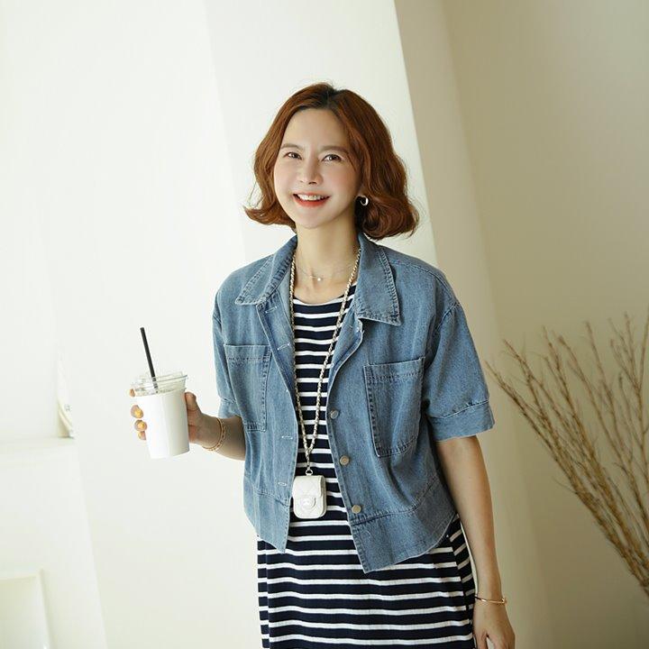lemite-반소매 데님자켓♡韓國女裝外套