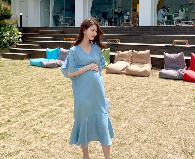 happy10-[임부복*시원린넨프릴 원피스]♡韓國孕婦裝連身裙