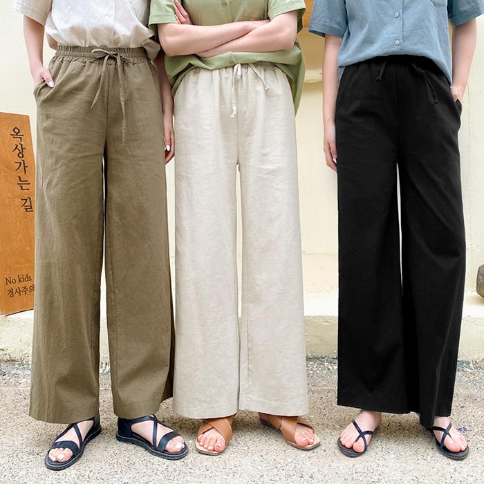 09women-[몬드 린넨 와이드 밴딩 팬츠 58800]♡韓國女裝褲