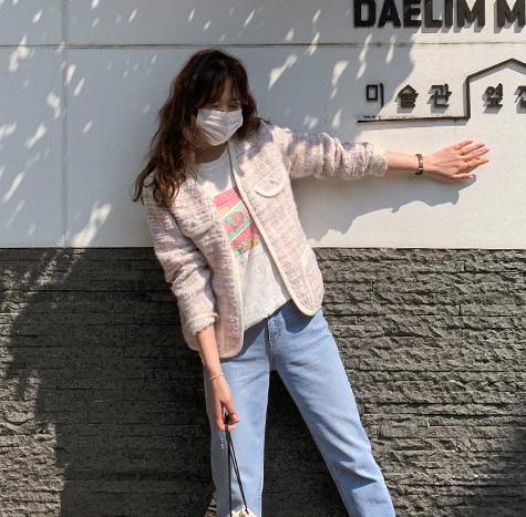 leelin-[[연보라]줄리어스 펄트위드 진주 자켓[size:F(55~66)]]♡韓國女裝外套