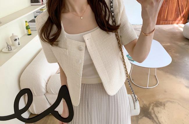minsshop-원트 스퀘어 트위드 자켓♡韓國女裝外套