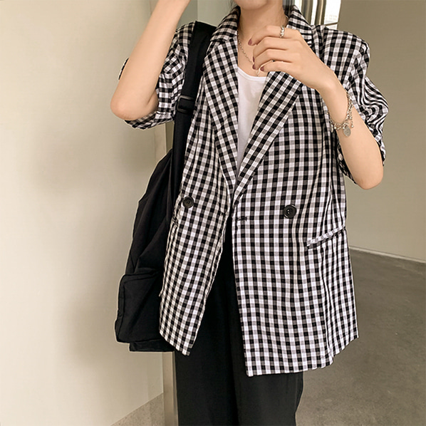 fashion-full-퍼슨 깅엄 체크 반팔 자켓♡韓國女裝外套