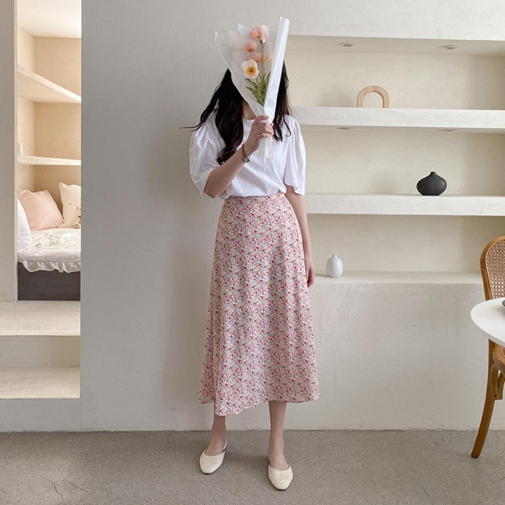 ppgirl-나염 밴딩 롱 스커트sk H205♡韓國女裝裙