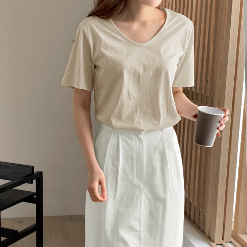 laurenhi-바이러 실켓 유넥 반팔 티셔츠 - 7 color♡韓國女裝上衣