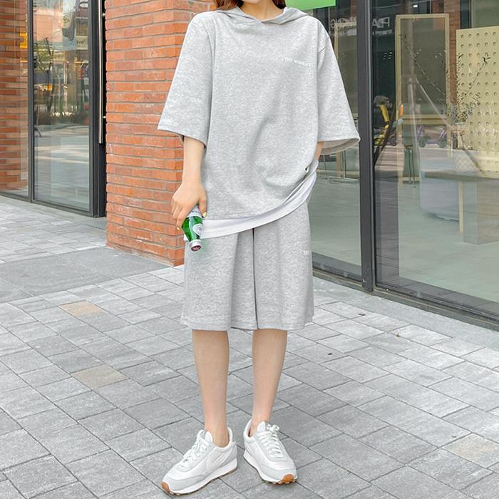 09women-[테필 레이어드 나염 후드 팬츠 세트 59005]♡韓國女裝套裝