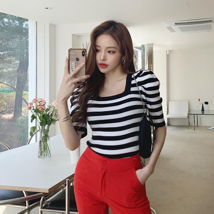 deepny-니엔스퀘어넥퍼프니트♡韓國女裝上衣
