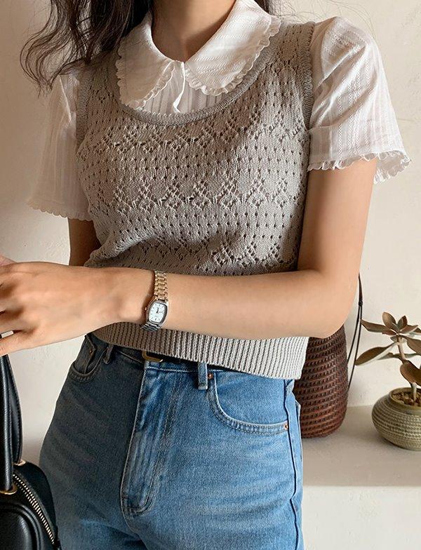 browncode-knit cami vest(gray) (원사 문제로 인해 4월말일 입고 예정/ 단독주문 부탁드립니다.)♡韓國女裝上衣