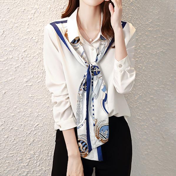 fashion-full-콤마 스카프 셔츠♡韓國女裝上衣