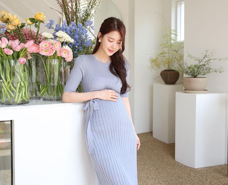 happy10-[임부복*실키골지니트 반팔 원피스]♡韓國孕婦裝連身裙
