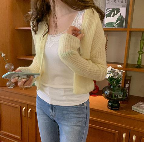 leelin-[글레이즈 레이스 골지 탑[size:F(55~66)]]♡韓國女裝上衣