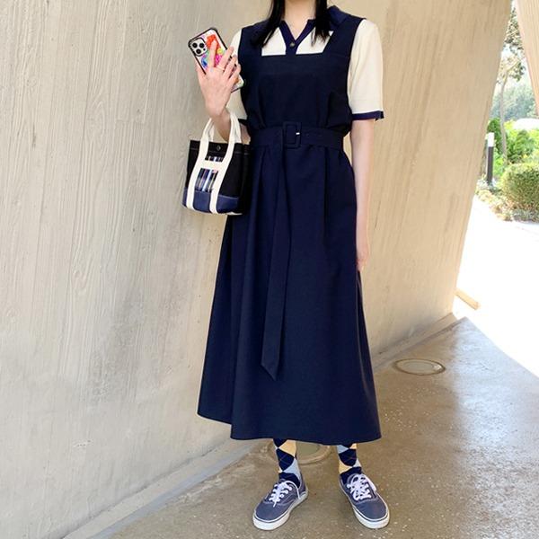 66girls-스퀘어민소매롱OPS (+벨트set)♡韓國女裝連身裙