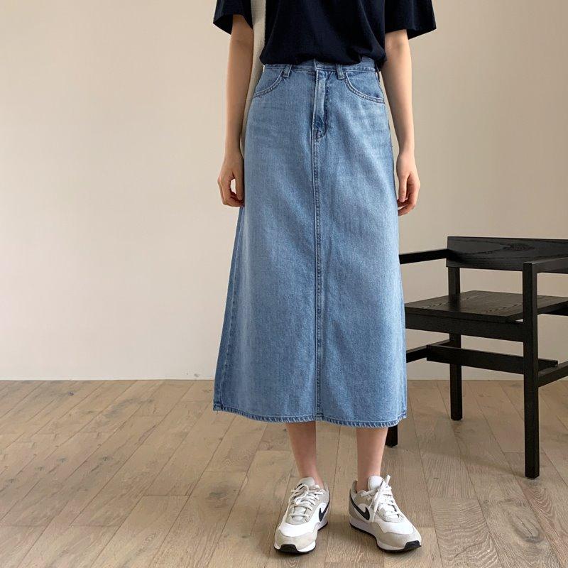 laurenhi-스린 A라인 데님 롱 스커트 - 1 color♡韓國女裝裙