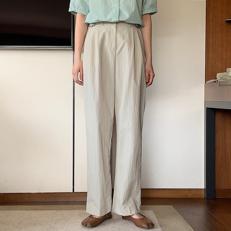 laurenhi-포팅 일자 와이드 비조 버클 팬츠 - 3 color♡韓國女裝褲