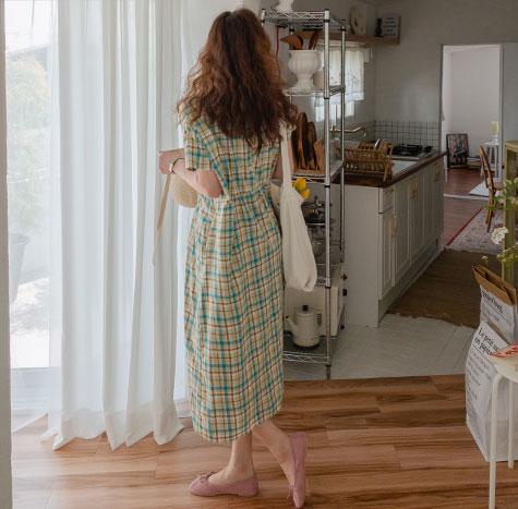 leelin-[샤이걸 투톤 체크 밴딩 원피스[size:F(55~66반)]]♡韓國女裝連身裙