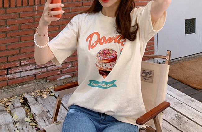 minsshop-(면100%)한입 도넛 티셔츠♡韓國女裝上衣