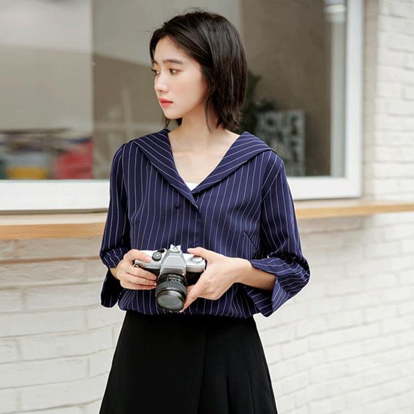 fashion-full-마린 스트라이프 9부 셔츠♡韓國女裝上衣