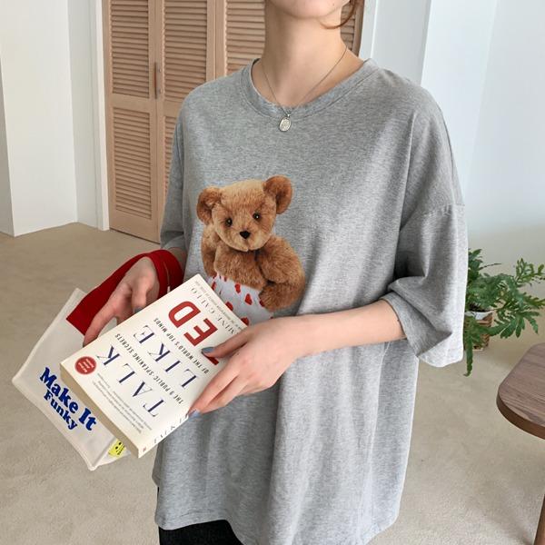 66girls-하트곰루즈반팔T♡韓國女裝上衣