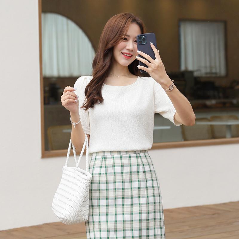 clicknfunny-제븐 스퀘어니트♡韓國女裝上衣