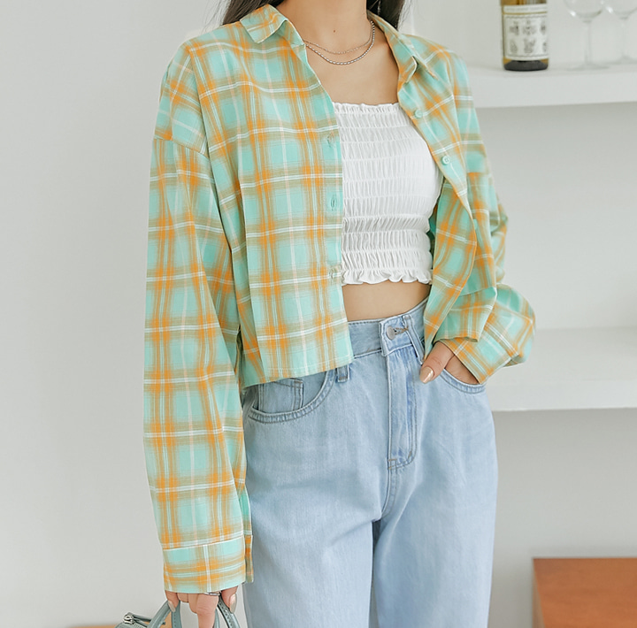 common-unique--콘디 체크 포켓 크롭 셔츠♡韓國女裝上衣