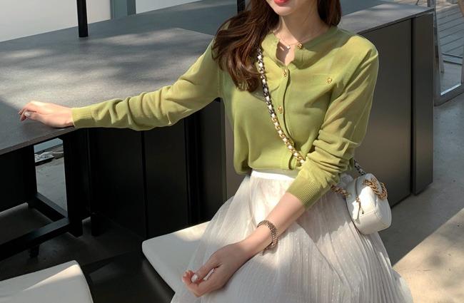 minsshop-아로마 골드버튼 가디건♡韓國女裝外套