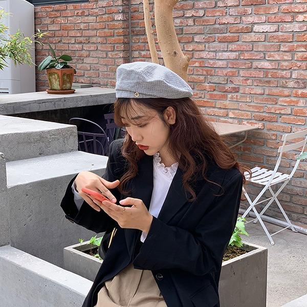 browncode-check beret♡韓國女裝飾品