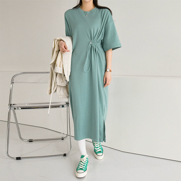 fashion-full-데오 반팔 롱 원피스♡韓國女裝連身裙