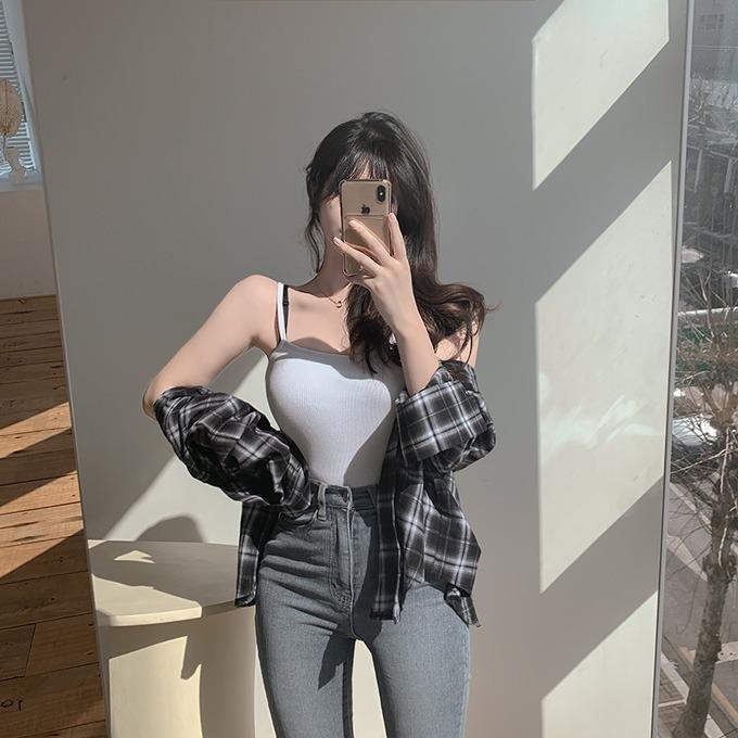 henique-싸이퍼 골지 캡내장 크롭 나시 (아이보리/핑크/연두/오렌지/그레이/블랙)♡韓國女裝上衣