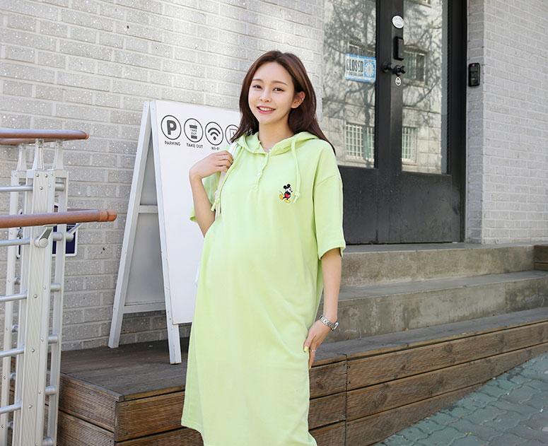 happy10-[*신상5% 기간한정할인*임부복*미키후드반팔 원피스]♡韓國孕婦裝連身裙